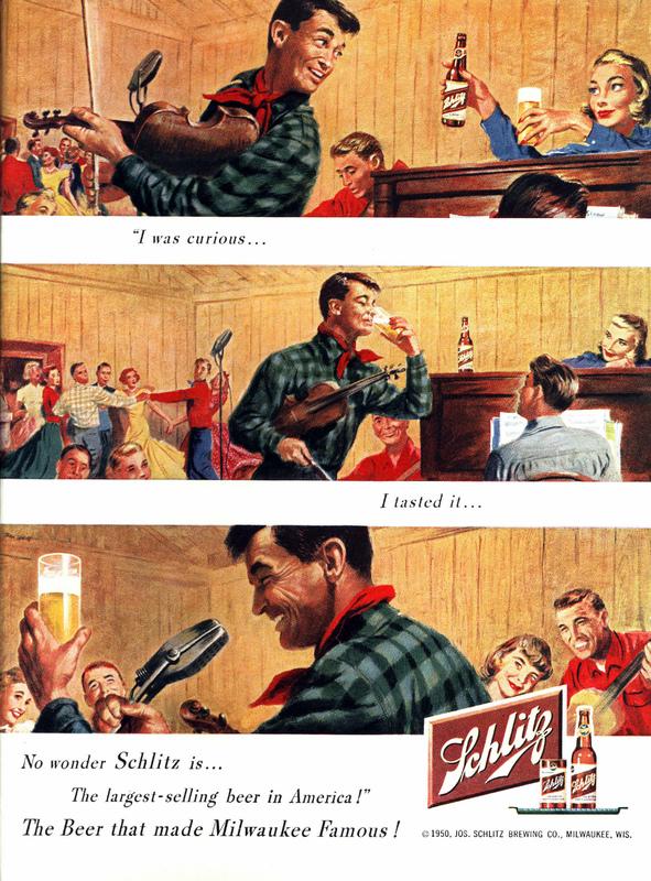 Schlitz beer ad, 1950
